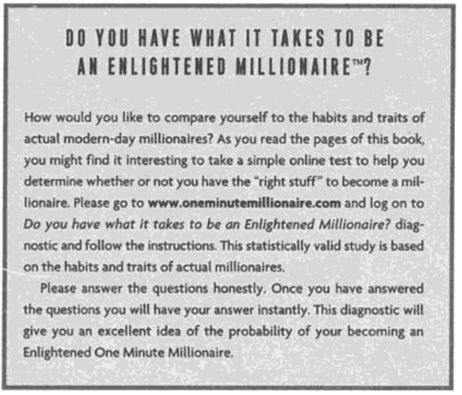 OneMinuteMillionaire.com promo from the paperback